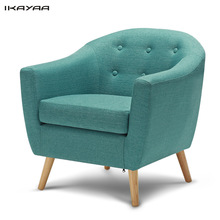 iKayaa Armchair Linen Fabric Living Room Accent Occasional Chair Modern Armchair Single Sofa for Bedroom Rubber Wood Legs