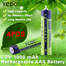 YCDC Green Color 4x AAA Cell High Volume Rechargeable Battery 1000mAh 1.2V For Cameras Mouse CD/MP3 players + Free Battery Case