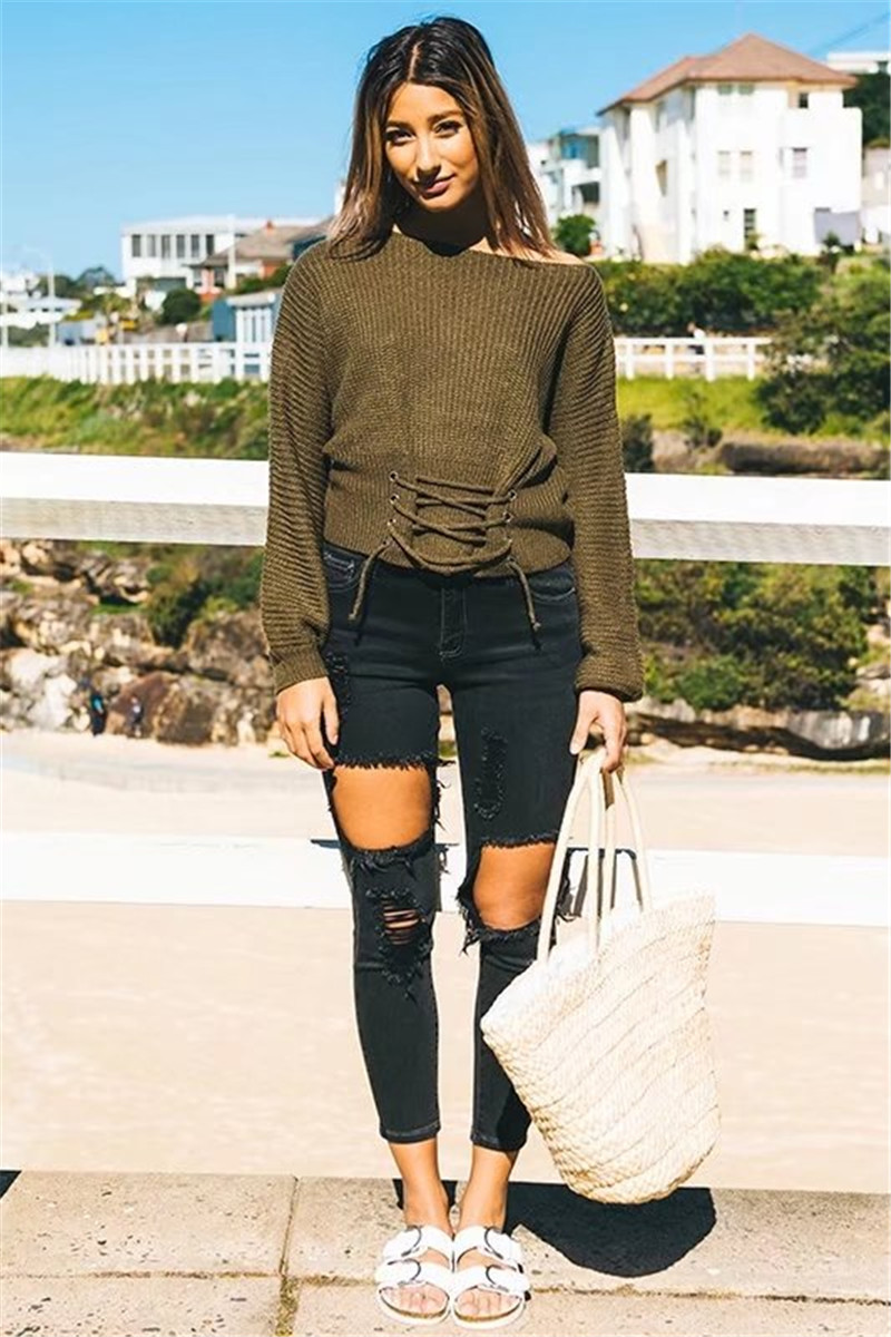Autumn Lace Up Sweater, Women's Knitted Solid Jumper, Adjust Waist Bandage Sweater 6
