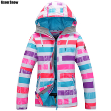 Gsou SNOW womens Snowboard ski jackets snow coat Outdoor sports skiwear Thicken super warm clothing waterproof -30 degree Russia(China)
