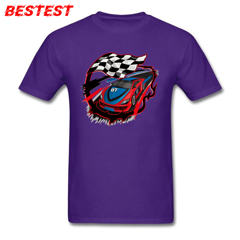 2018 auto racing checkered flag Short Sleeve T-shirts Labor Day Round Neck Cotton Fabric Tops Shirt for Men Tops Shirts Birthday auto racing checkered flag purple