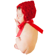 Hot sale baby props for photography newborn hats kids costume cute red hat baby girl cap crochet infant photo props accessoires