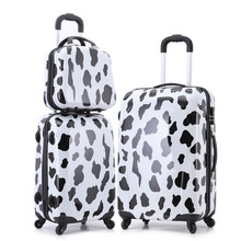 Women Cow Rolling Luggage+Makeup Case/Large Capacity Hardside Trolley Bags/Cartoon Print ABS Spinner Suitcase,13'' 20'' 24''