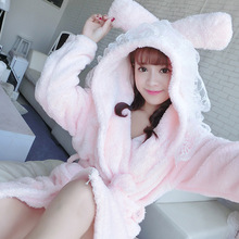 New Arrivals Hot Soft Woman Peignoir Robes Rabbit Homewear Bathrobe Flannel Nightwear Warm Bathrobe Lace Home Clothes(China)