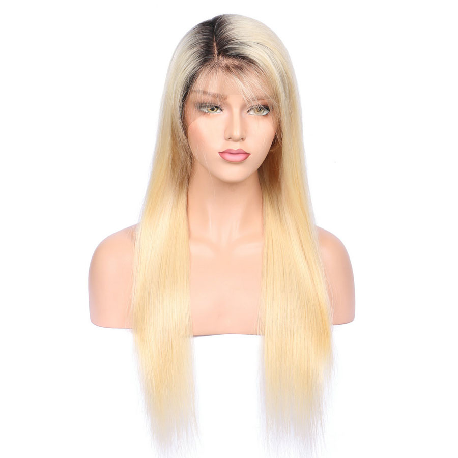 BEEOS #1bT#613 Glue Full Lace Wig With Baby Hair Pre Plucked Remy Ombre Blonde Human Hair Wigs Bleached Knots Average Cap (6)
