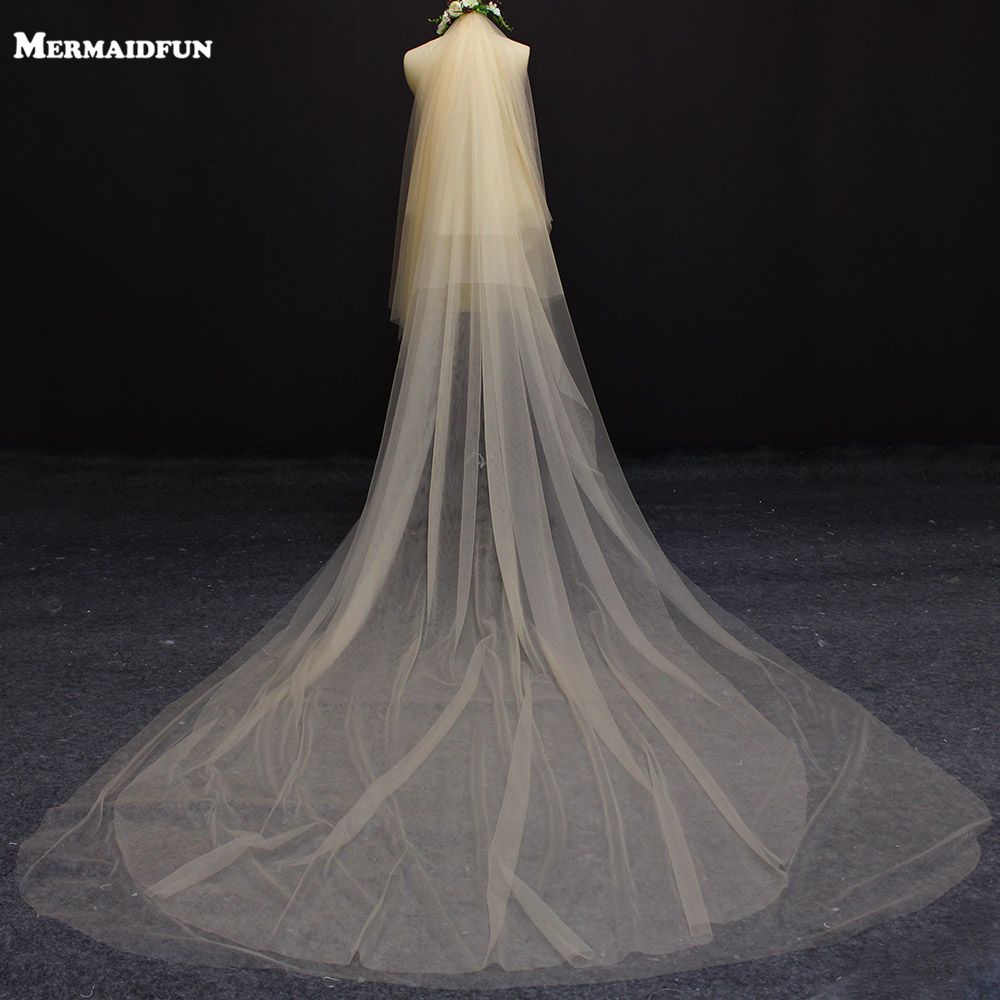 Wedding Veil Long Soft Bridal Accessories champagne Polyester Classy
