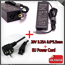 EU Power Cord + 20V 3.25A AC Adapter Charger For lenovo Notebook N108 Z60 Z60M Z60T Z61e Z61m 8.0 * 5.5mm Laptop Power Supply(China)