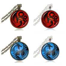 Red Blue Ying Yang Necklace Dragon Pendant Phoenix Picture Necklace Cross Jewelry Glass Dome Sweater Necklace Animal Jewellery