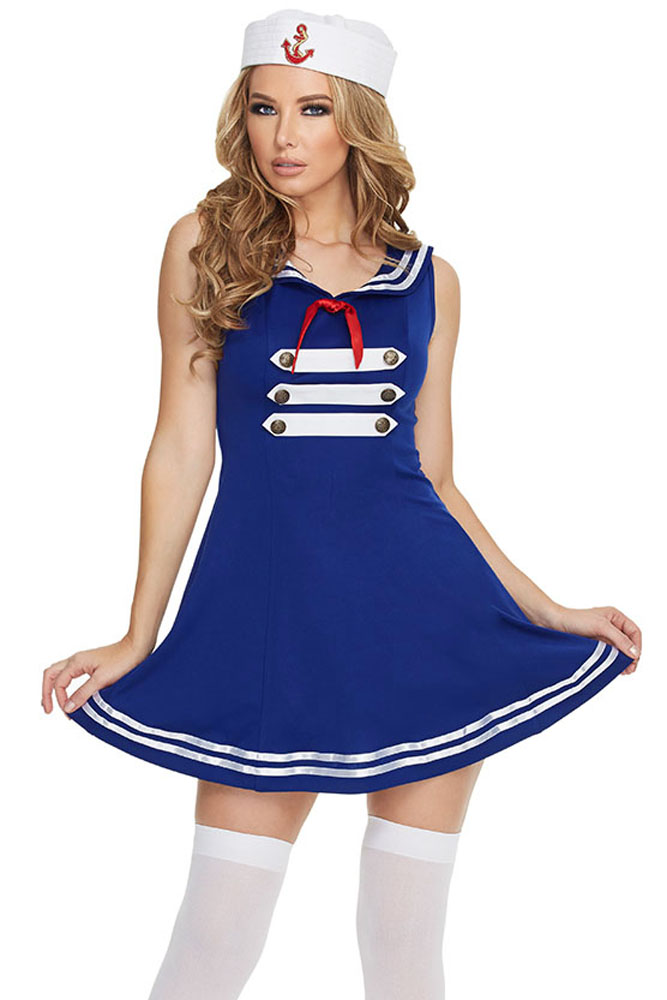 Adult Halloween day dress for women Sweet Girls Cosplay Sea Military Uniform Sexy Sleeveless Pin Up Sailor Costume With Hat 8931(China (Mainland))