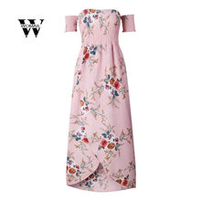 2018 hot sale Fashion Women Casual Off Shoulder Floral Dress Plus Size Long  Maxi Chiffon Dress 8fdc6886a4fb