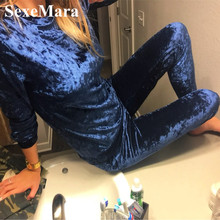 2017 Autumn and Winter Casual Sweat Suits Women Fashion Velvet Suit Two Piece Set Top and Pants Plus Size Velvet Tracksuits AF61(China)