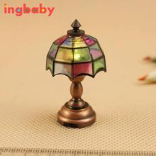 1:12 Dollhouse Mini Color LED Table Lamp Model With Switch&Battery Metal Plastic Toy Children DIY Decorative Model WJ919 ingbaby