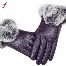 2017 Autumn Winter Warm Rabbit Fur Mittens Gloves For Women Lady Black PU Leather Full Finger Gloves Girls Guantes(China)