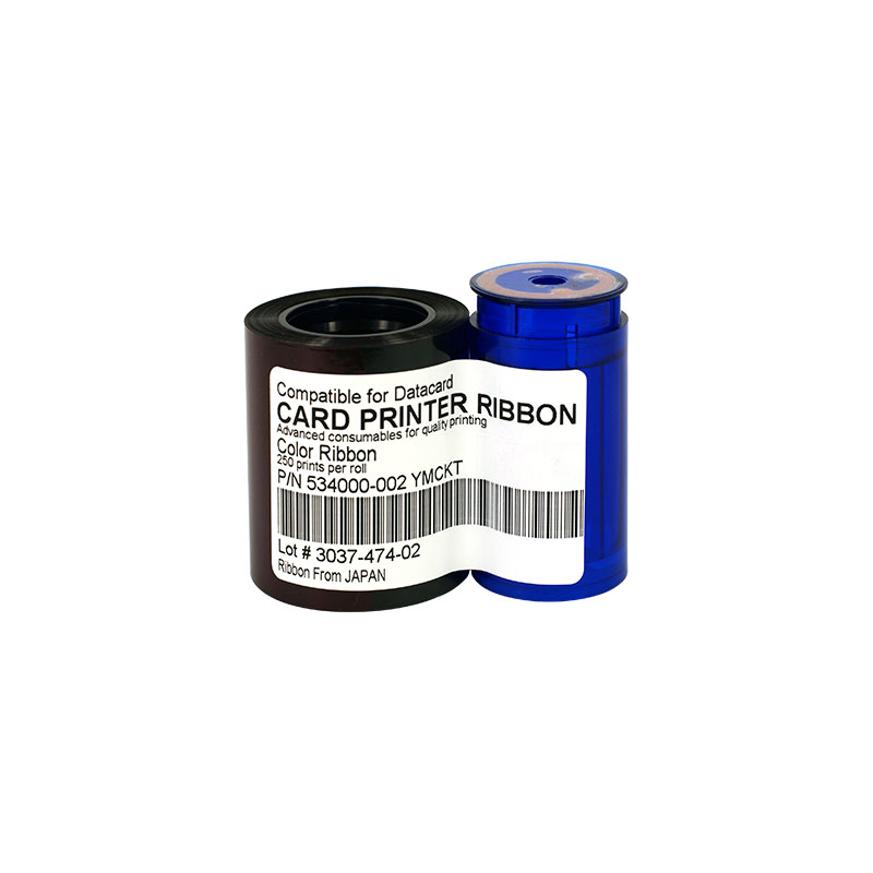 Printer Ribbon 534000-002 Color Ribbon 500prints/roll for Datacard SP/SD Series Including Cleaning Card&amp;Roller<br>