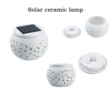 Hollow Ceramic Solar Lights Colorful Garden Decorative Solar Big Apple Lamp Maple Leaf Gifts Garden LED Atmosphere Night Light