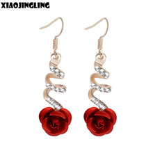 XIAOJINGLING Korea Fashion Lovely Temperament Crystal Red Rose Flower Women Dangle Drop Earring for Wedding/Party Bridal Earring(China)