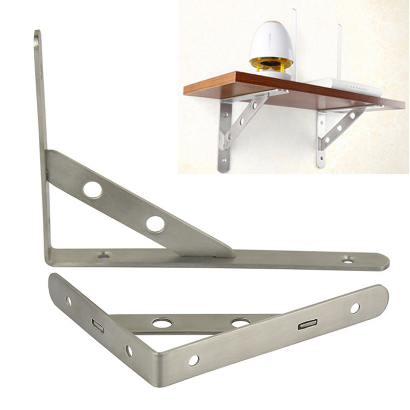 2Pcs Wall Shelf Brackets Book Shelf Holder Stainless Steel Storage Rack Holder Hardware Kitchen Bathroom Organizer Storage Rack(China)