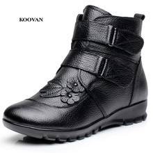 Koovan Warm Moms Shoes 2017 New Winter Cotton Boots Short Shoes Aged Mama's Style Cowhide Leather Short Warm Boots Flowers(China)