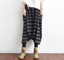 Brand New Fall Autumn Wide Leg Pants Black Striped Ankle-Length Culottes Pants Women Plus Size Loose Clothing Female Trousers