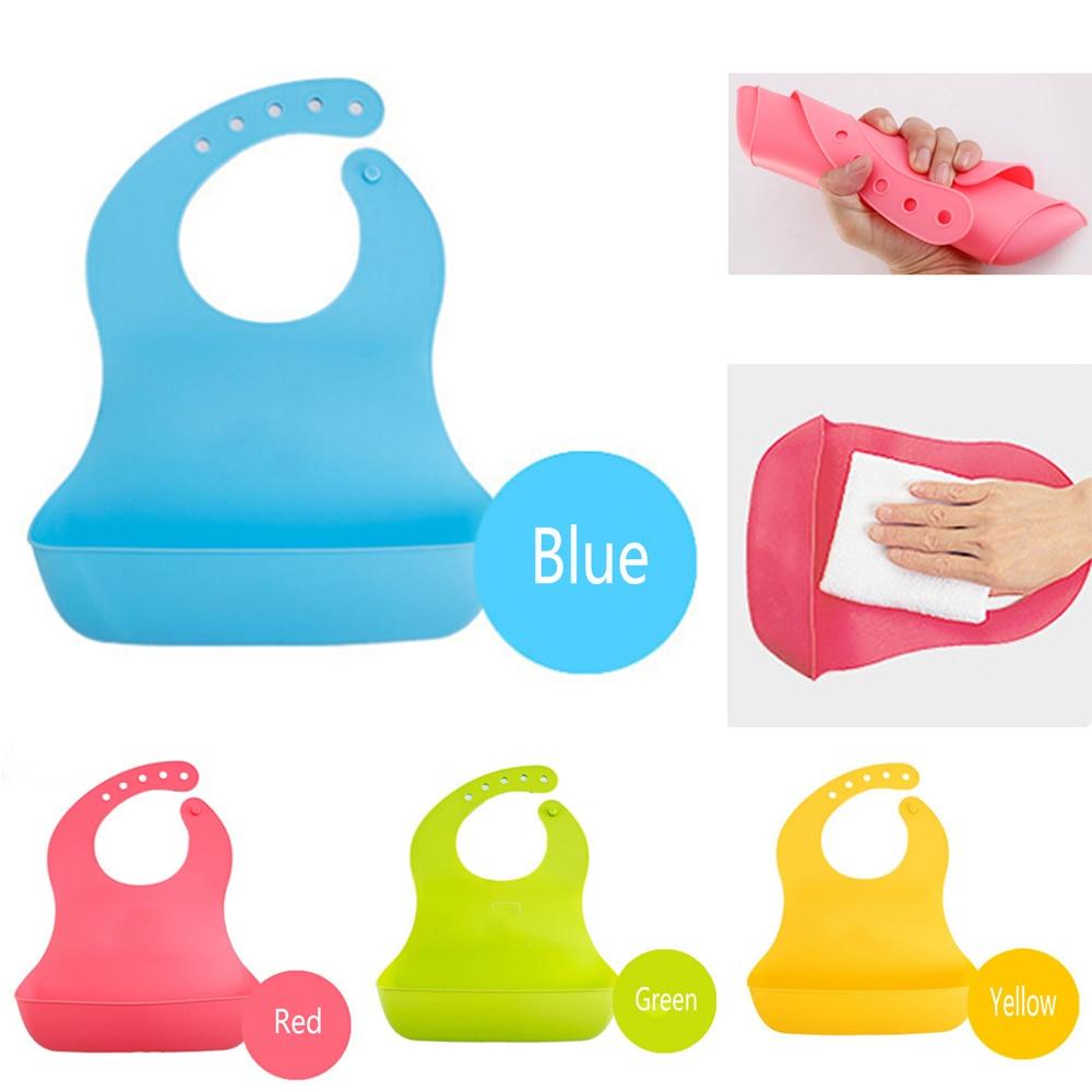Soft Bib Baby Infant Cute Silicone Waterproof Lunch Bib Rinse and Roll Super Bib