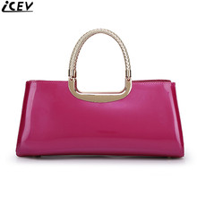 ICEV new 2018 designer luxury clutch red bride wedding hand bag patent leather women handbags famous brands messenger bag solid(China)
