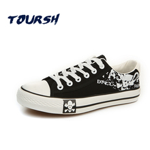 TOURSH Men Classics Canvas Shoes 2017 Star Style Leisure Lifestyle Comfort Walking Shoes Men Print Lace-Up Canvas Sneakers