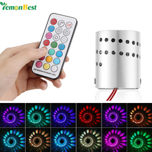 LemonBest Modern LED Wall Light Aluminum Hollow Cylinder RGB 3W Remote Control Indoor Outdoor Home Lightinh AC 85-265V
