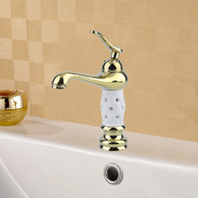 Dropshipping Bathroom Basin Faucet Brass With Diamond Crystal Body Taps ceramic Luxury Single Handle Hot Cold Mixer Water New(China)