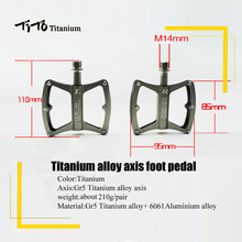 TiTo ultralight titanium MTB / road bike axis pedals titanium alloy bicycle axis pedals Cycling platform CNC 1 pair(China)