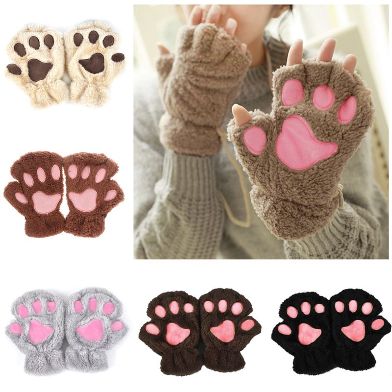 Women Lady Cute Cat Claw Paw Plush Half Finger Mittens Short Fingerless Gloves