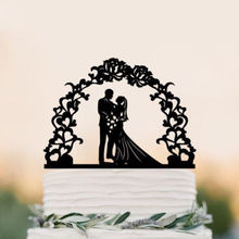 Garden Theme Bride and Groom Silhouette Wedding Cake Topper for Outdoor Wedding Decoration Cake Accessory