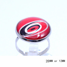 Carolina Hurricanes Team Ring Ice Hockey Charms NHL Sport Jewlery Round Glass Dome Silver Plated Ring For Women Girl Adjustable(China)