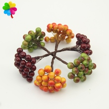 20pcs/40head Artificial Fruit glass Berries Stamen Christmas decoration DIY Candy gift box Scrapbooking red cherry Bouquet