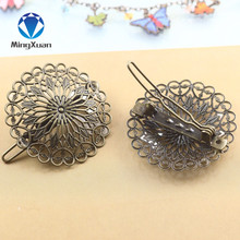 MINGXUAN 37mm Vintage Flower Motif Jewelry Charm Women Antique Bronze Hair Pins Hairs Clips Barrettes Retro Headwear Wholesale(China)