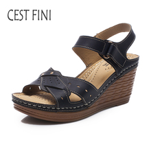 CESTFINI Wedge Sandals 2017 NEW Women High Hells Sandals PU Leather Women Casual Shoes Black And Pink Big Size 36-41 #SA011(China)