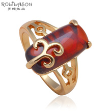 Royal Gold tone Fashion Jewelry Nickel & Lead Free High Quality Red Crystal Rings USA Size #6#7#8#9 JR2057(China)