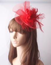 Free shipping 9color fabric flower and veils decorated fascinators hats nice party hair accessories red cocktail hats headwear(China)