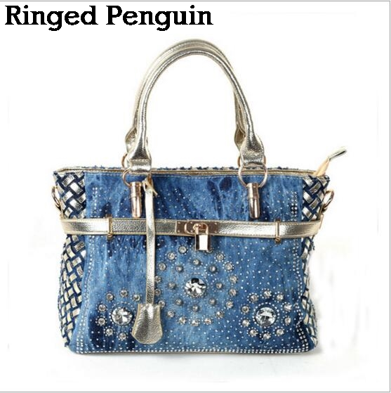 Ringed Penguin Summer  Fashion womens handbag large oxford shoulder bags patchwork jean style and crystal decoration blue bag<br>