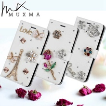 Buy Rhinestone Case Homtom HT37 Glitter Diamond Flip Wallet Leather Cover Flowers Crystal Card Slots Holder Stand Phone Cases for $6.99 in AliExpress store