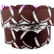 "1"" 25mm Football&Rugby Patterns Printed Grosgrain Ribbon DIY Christmas&Party Packing Stuff Webbing 10yards/roll MD170830-75-8332"