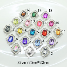 New 25*30MM Rhinestone buttons Transparent crystal metal button Flat back clothing button Wedding tnvitations decoraation(China)
