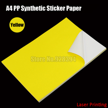 30sheets Yellow A4 PP Synthetic Paper Adhesive Sticker Paper Printing Paper Glossy Sheet Fit Laser Printer(China)