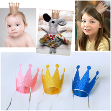 HAOCHU 6Pcs/lot Glitter Little Prince Princess Plastic Crown Hats Birthday Party Baby Shower Kids Birthday Decor Party Festival