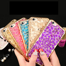 Hot Sale Gold Electroplating For iPhone 7 7plus 5 5s 6 6s Plus Case Cover Soft TPU 3D Bling Flower Diamond Plating Phone Cases
