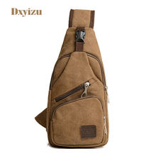New arrival Vintage Solid Men Zipper Canvas Chest bag Khaki Crossbody bags Retro washed Chest&Messenger Bags for Male and Women(China)