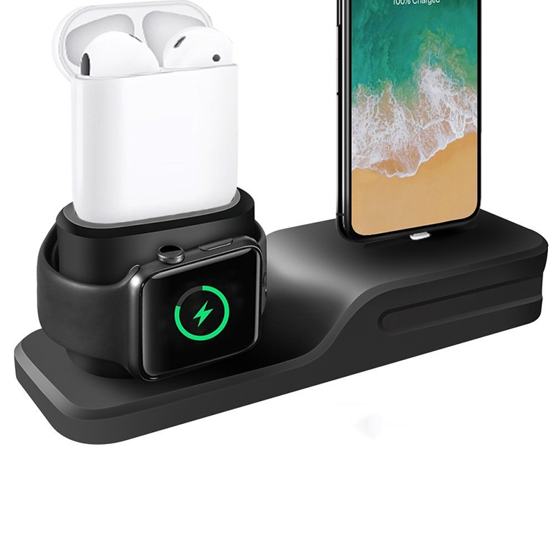3 in 1 Charging Dock Holder For Iphone X Iphone 8 Iphone 7 Iphone 6 Silicone charging stand Dock Station For Apple watch Airpods (12)
