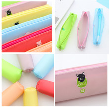 Fashion Jelly Gel Cosmetic Makeup Bag Pen Pencil Stationery Case Zipper Pouch Box Buy food to carry wallet(China)