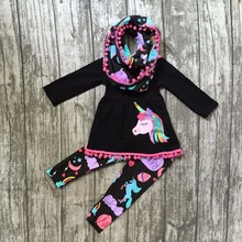 children clothes 3 pieces scarf fall/winter baby girls boutique outfits happy love unicorn pom pom cotton set black star moon