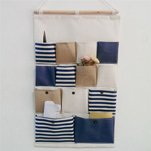 Creative 13 Pockets Hanging Storage Bags Vintage Striped Door Wall Mounted Jewelry Closet Organizer Hanger Pouch(China)