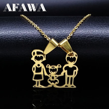 Mama Girls Stainless Steel Statement Necklace Silver Gold Color Family Necklace & pendants Women Kids Jewelry gargantilla ND39A(China)